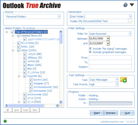 Click to view Outlook True Archive 1.4.0 screenshot
